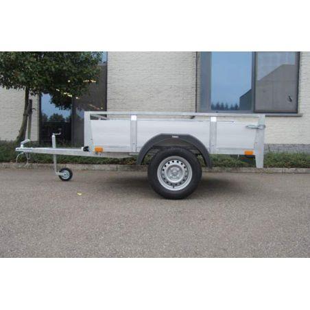 Aanhangwagen geremd alu 2.57x1.57 m  enkel as 1350 kg