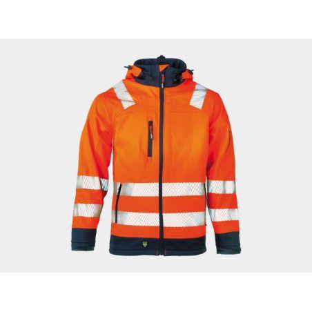 Softshell vest Gregor high visibility oranje fluo/navy HEROCK