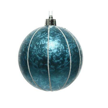 Kerstbal blauw met ijslak 8 cm onbreekbaar