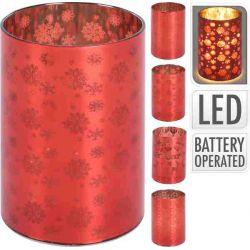 Glas met led 10 cm rood