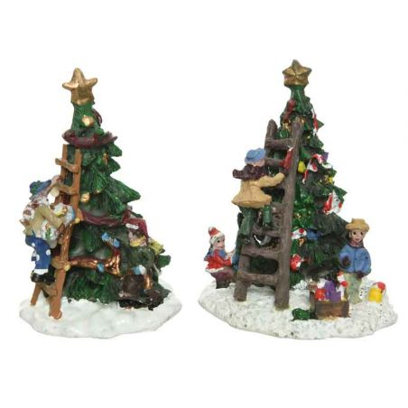 Figuur set voor kerstdorpen - boom versieren